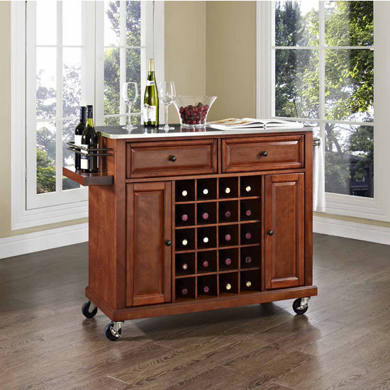 Crosley Furniture Stainless Steel Wine Cart, Classic Cherry