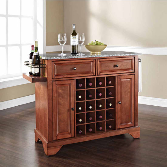 Crosley Furniture Lafayette Solid Granite Top Wine Island, Classic Cherry