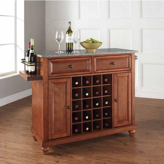 Crosley Furniture Cambridge Solid Granite Top Wine Island, Classic Cherry