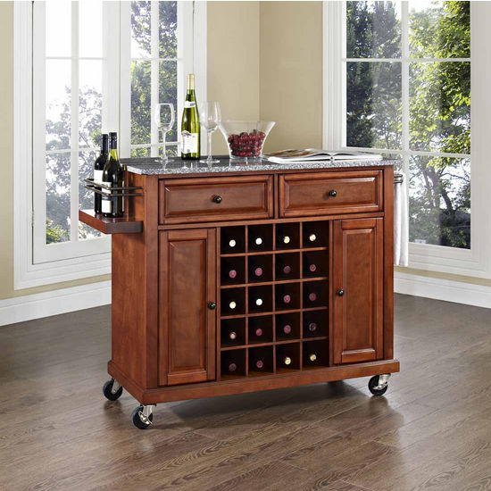Crosley Furniture Solid Granite Top Wine Cart, Classic Cherry