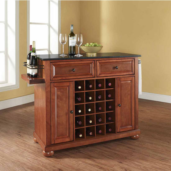 Crosley Furniture Alexandria Solid Black Granite Black Top Wine Island, Classic Cherry
