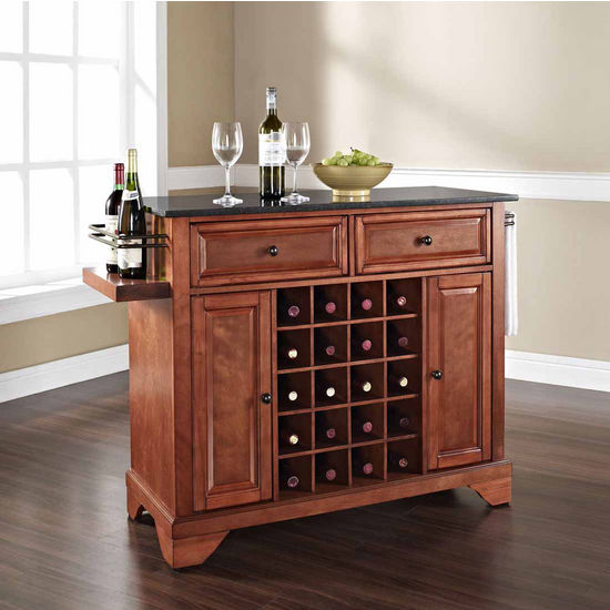 Crosley Furniture Lafayette Solid Black Granite Black Top Wine Island, Classic Cherry