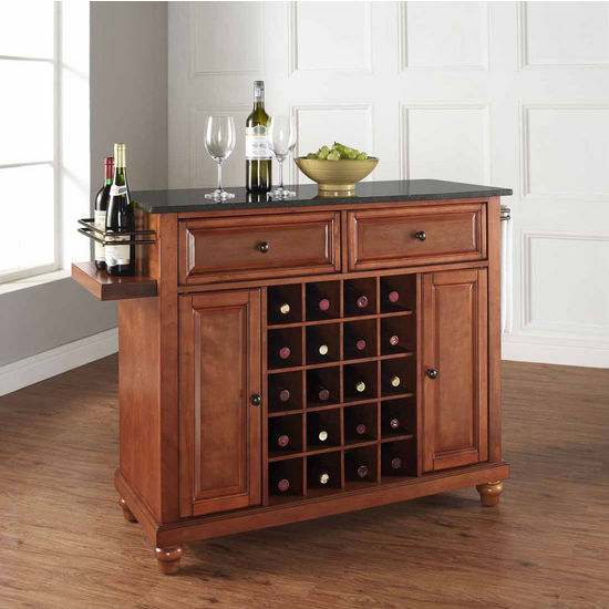 Crosley Furniture Cambridge Solid Black Granite Black Top Wine Island, Classic Cherry