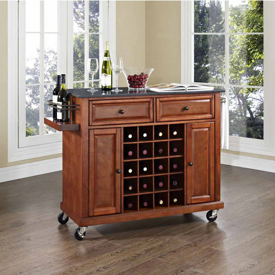 Crosley Furniture Solid Black Granite Black Top Wine Cart, Classic Cherry