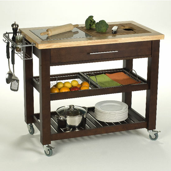 Pro Chef 40 1 2 W Food Prep Station In Natural Espresso Or White By Chris Chris Kitchensource Com
