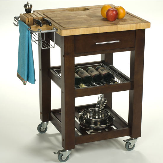 Danver Commercial Mobile Kitchen Carts: Pro Chef 23-3/4'' W Food Prep Station In Natural, Espresso