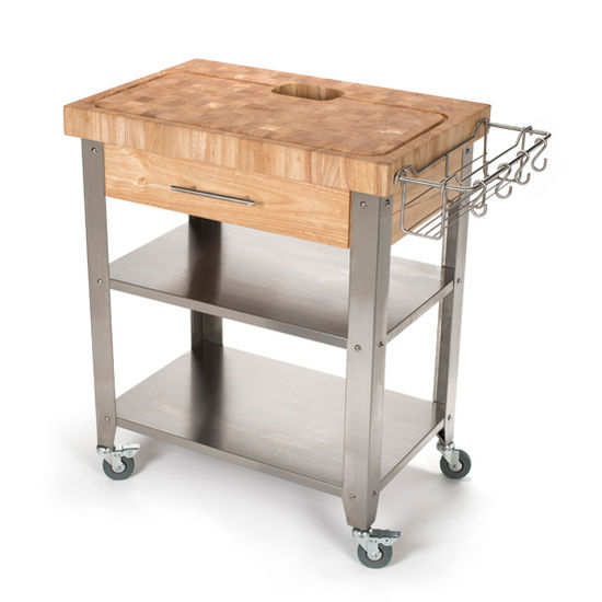 """Chris & Chris Stadium Series Kitchen Work Station with 2-1/2"""" Solid End or Acacia Grain Top, Solid Stainless Shelves and Legs, 30'' W x 20'' D x 36'' H"""