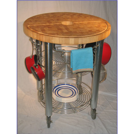 Gentil Chris U0026 Chris Round Food Prep Kitchen Cart