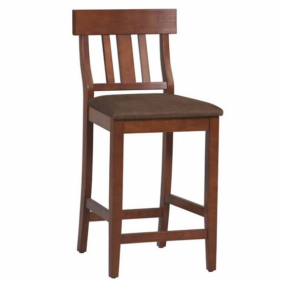 Linon Torino Collection Slat Back Stool, Dark Cherry