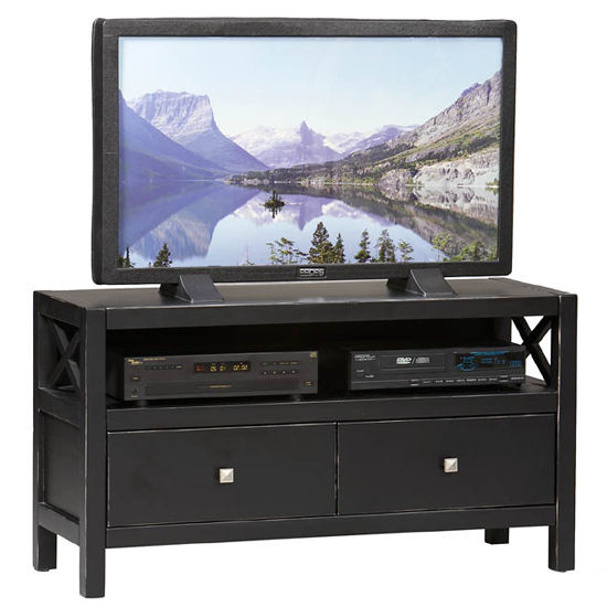 Linon Anna Media Center, Black Finish