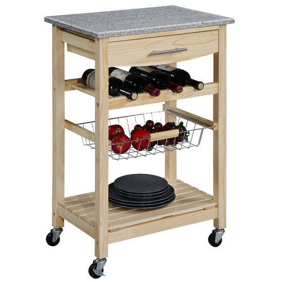 Linon Pine Wood Kitchen Cart with Granite Top