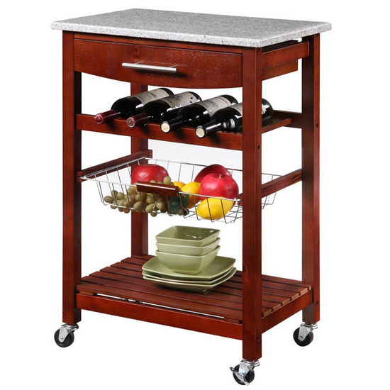 Linon Wine Rack Kitchen Island with Granite Top