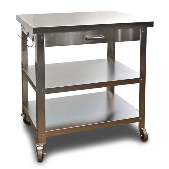 danver stainless steel kitchen cart with wheels - Kitchen Carts
