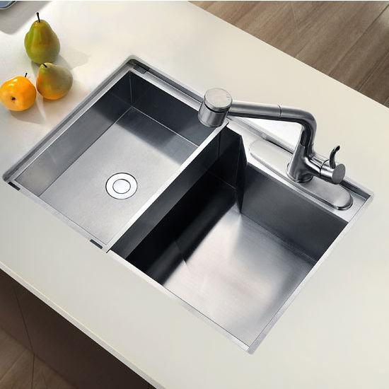 Dawn Sinks Undermount Square Single Bowl Kitchen Sink, 18 Gauge, Satin ...