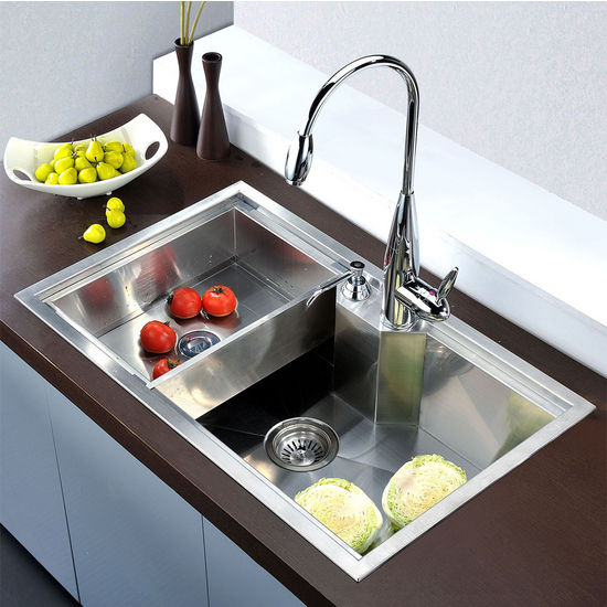 Dawn Sinks Undermount Square Single Bowl Kitchen Sink 18 Gauge Satin 30 3 4 W X 18 7 8 D X 9 1 2 H