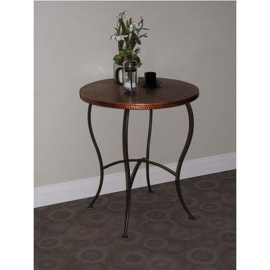 Round Hammered Metal Table