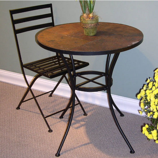 4D Concepts Round Slate-Top Table & Metal Folding Chair