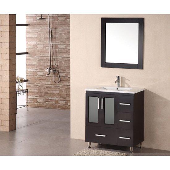 "Design Element Stanton 32"" Single Sink Vanity Set with Wall Mirror in Espresso, 32"" W x 18"" D x 35"" H"