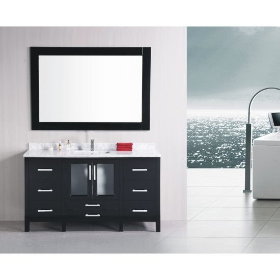 """Design Element Stanton 60"""" Single Sink Vanity Set with Wall Mirror in Espresso and White Carrera Marble Countertop, 60"""" W x 22"""" D x 35"""" H"""