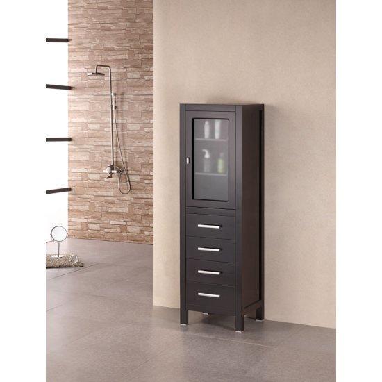 "Design Element London 65"" Linen Cabinet in Espresso, 18"" W x 18"" D x 65"" H"