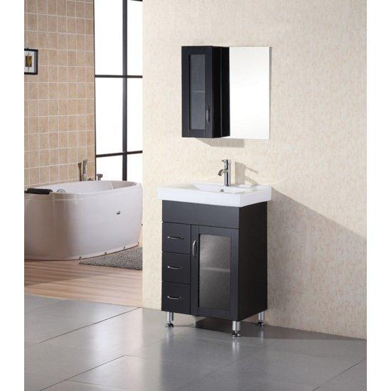 "Design Element Milan 24"" Single Sink Vanity Set with Wall Mirror in Espresso, 24"" W x 18"" D x 35"" H"