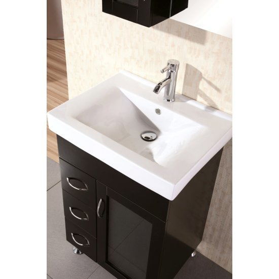 Milan 24 39 39 wide single sink vanity set with matching wall - Bathroom vanity and medicine cabinet combo ...
