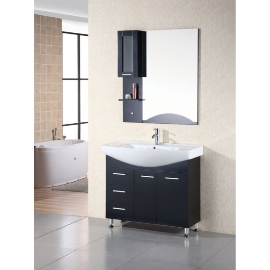 "Design Element Sierra 40"" Single Sink Vanity Set with Wall Mirror in Espresso, 41"" W x 21"" D x 36"" H"