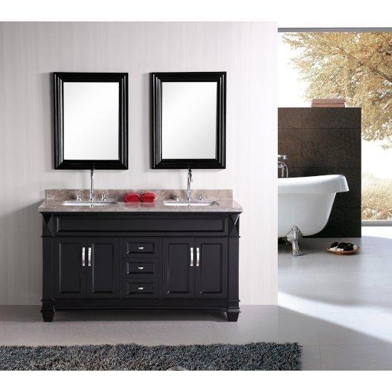 "Espresso 61"" Crema Top Vanity Set w/ (2) Mirrors"