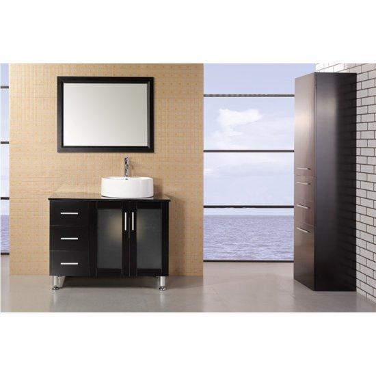 "Design Element Malibu 39"" Single Sink Vanity Set with Wall Mirror in Espresso, 39"" W x 22"" D x 29"" H"