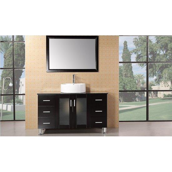 "Design Element Malibu 48"" Single Sink Vanity Set with Wall Mirror in Espresso, 48"" W x 22"" D x 29"" H"