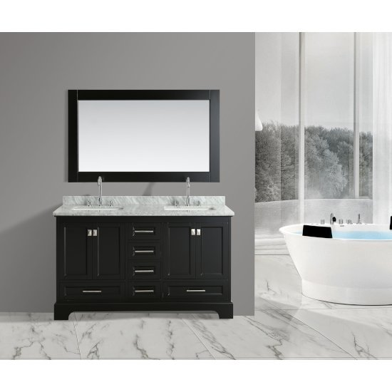 "Design Element Omega 61"" Double Sink Vanity Set with Wall Mirror in Espresso and Carrera White Countertop, 61"" W x 22"" D x 36"" H"