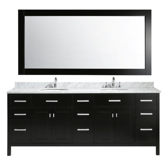 """Design Element London 84"""" Double Sink Vanity Set with Wall Mirror in Espresso and White Carrera Marble Countertop, 84"""" W x 22"""" D x 36"""" H"""