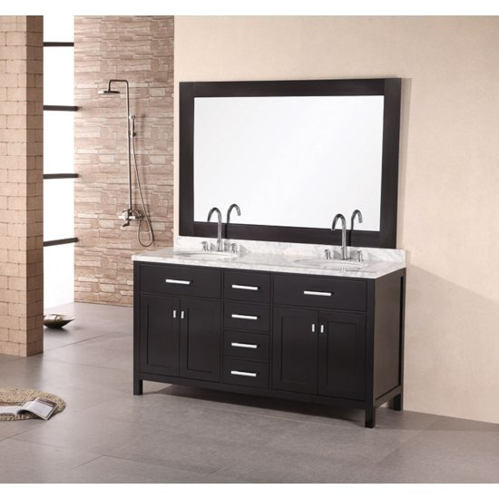 "Espresso 61"" Vanity Set w/ Wall Mirror"