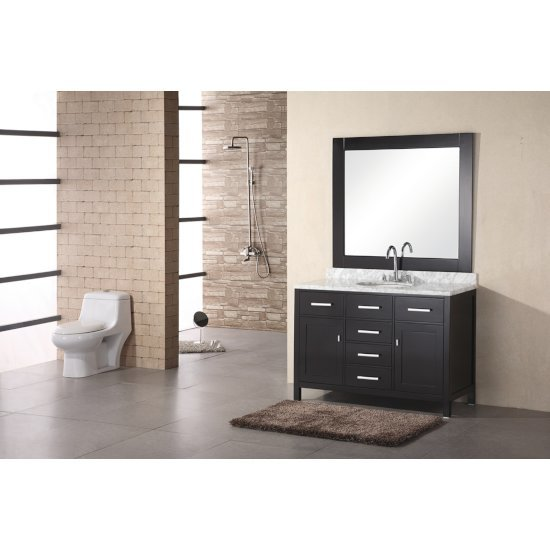 "Design Element London 48"" Single Sink Vanity Set with Wall Mirror in Espresso and White Carrera Marble Countertop, 48"" W x 22"" D x 36"" H"