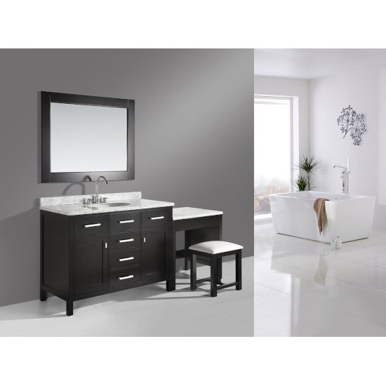 "Espresso 48"" Single Sink Vanity Set w/ Make-Up Table"