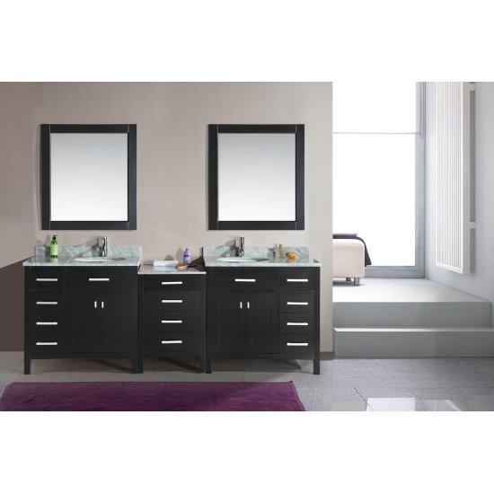 "Design Element London 92"" Double Sink Vanity Set with Wall Mirror in Espresso and White Carrera Marble Countertop, 92"" W x 22"" D x 36"" H"