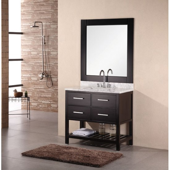 "Espresso 36"" Carrera Top Vanity Set w/ Wall Mirror"