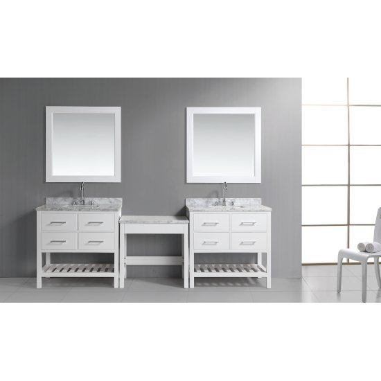 """Design Element London 36"""" Single Sink Vanity Set with (2) Vanities, (2) Wall Mirrors and (1) Make-Up Table in White, 102"""" W x 22"""" D x 36"""" H"""