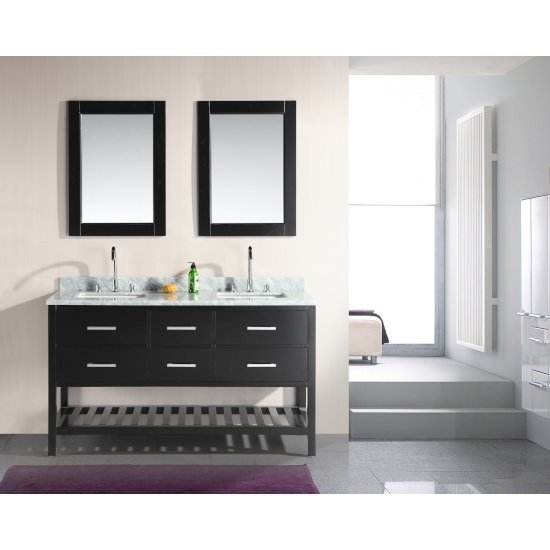 "Design Element London 61"" Double Sink Vanity Set with (2) Wall Mirrors in Espresso, Open Bottom and White Carrera Marble Top, 61"" W x 22"" D x 36"" H"