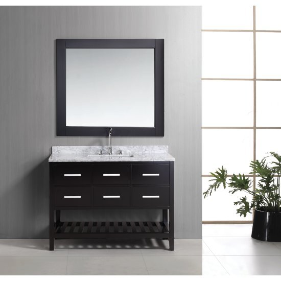 """Design Element London 48"""" Single Sink Vanity Set with Wall Mirror in Espresso and White Carrera Marble Top, 48"""" W x 22"""" D x 36"""" H"""