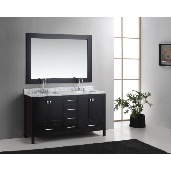 "Espresso 61"" Carrera Top Vanity Set w/ Wall Mirror"