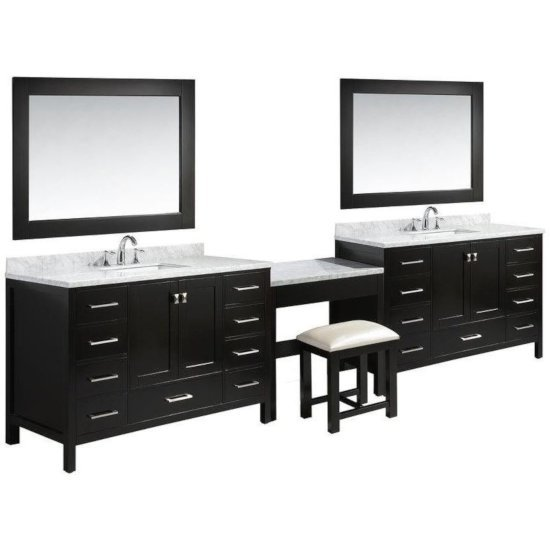 """Design Element London 84"""" Double Sink Vanity Set with (2) Wall Mirrors and (1) Make-Up Table in Espresso, 138"""" W x 22"""" D x 36"""" H"""