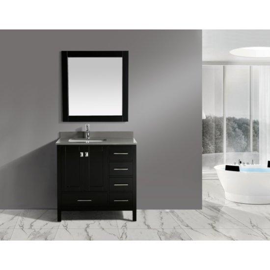 "Espresso 36"" Gray Quartz Top Vanity Set w/ Wall Mirror"