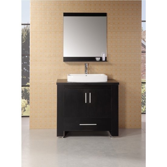 "Design Element Washington 36"" Single Sink Vanity Set with Wall Mirror in Espresso, 36"" W x 22"" D x 31"" H"