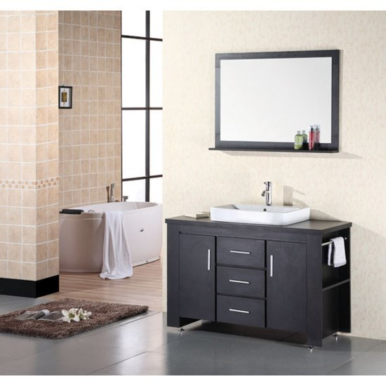 "Design Element Washington 48"" Single Sink Vanity Set with Wall Mirror in Espresso, 48"" W x 22"" D x 31"" H"