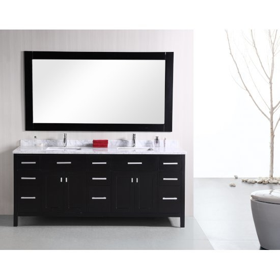 "Design Element London 78"" Double Sink Vanity Set with Wall Mirror in Espresso and White Carrera Marble Countertop, 78"" W x 22"" D x 36"" H"