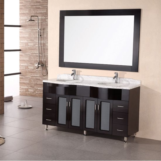 """Design Element Bello 62"""" Double Sink Vanity Set with Wall Mirror in Espresso and White Carrera Marble Countertop, 62"""" W x 22"""" D x 34"""" H"""