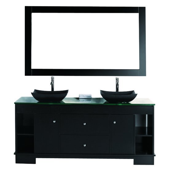 "Design Element Oasis 60"" Double Sink Vanity Set with Wall Mirror in Espresso with Mirror, 60"" W x 22"" D x 36"" H"
