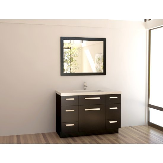 "Design Element Moscony 48"" Single Sink Vanity Set with Wall Mirror in Espresso, 48"" W x 22"" D x 34"" H"