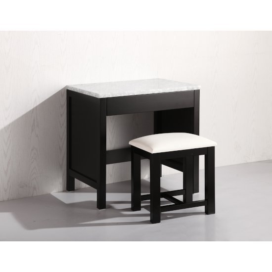 Espresso Make-Up Table and Stool